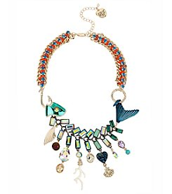 Betsey Johnson® Mixed Charm Fish Frontal Necklace