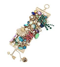 Betsey Johnson® Seashell & Starfish Shaky Mixed Charm Wide Toggle Bracelet