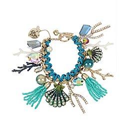 Betsey Johnson® Seashell Mixed Multi Charm Toggle Bracelet