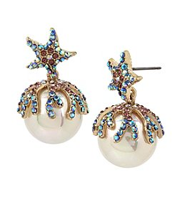 Betsey Johnson® Starfish Pearl Drop Earrings