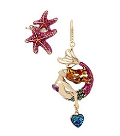 Betsey Johnson® Mermaid Drop & Starfish Ear Crawler Set
