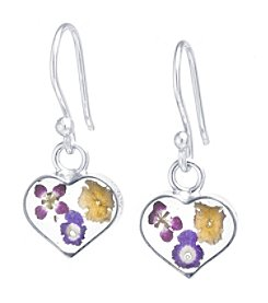 Athra Multi Color Dried Flowers Heart Drop Earrings
