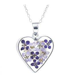Athra Dried Flowers Heart Pendant Necklace