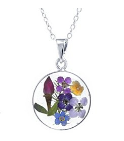 Athra® Multi Color Dried Flowers Circle Clear Resin Pendant.