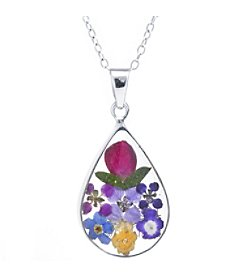 Athra Multi Color Dried Flowers Teardrop Pendant.