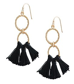 Robert Rose Double Ring Tassel Earrings