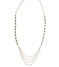 Robert Rose Layered Necklace With Zig Zag Bead