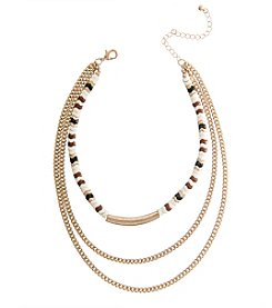 Robert Rose Beaded Choker Layered Necklace