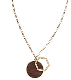 Robert Rose Wood Inlay Pendant Necklace