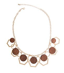 Robert Rose Hexagon And Circle Ring Wood Shaky Necklace