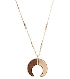 Robert Rose Wood Horn Pendant Necklace