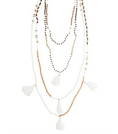 Robert Rose 4 Row Seedbead Tassel Necklace