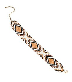 Robert Rose Diamond Patterned Seedbead Choker