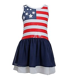 Bonnie Jean® Girls' 2T-6X Racerback Sequined American Flag Dress