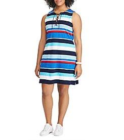 Chaps® Plus Size Striped Lace-Up Dress