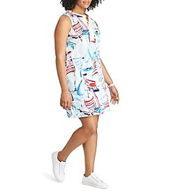 Chaps® Plus Size Printed Lace-Up Cotton Dress