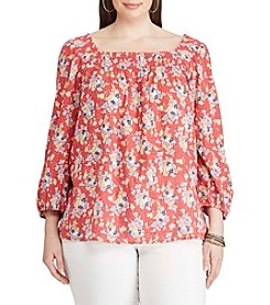 Chaps® Plus Size Floral-Print Smocked Top