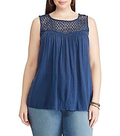 Chaps® Plus Size Lace-Trim Sleeveless Top