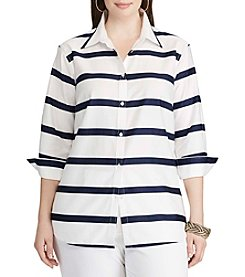 Chaps® Plus Size Non-Iron Striped Broadcloth Shirt