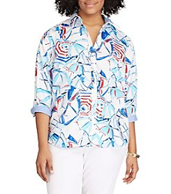 Chaps® Plus Size Non-Iron Beach Umbrella Printed Shirt