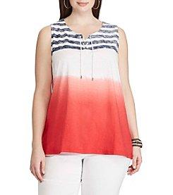 Chaps® Plus Size Dip-Dye Striped Cotton Tank