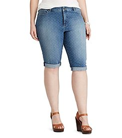 Chaps® Plus Size Geo-Print Denim Shorts
