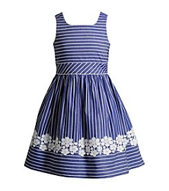 Bloome Girls' 7-16 Striped Chambray Fit 'N Flare Dress