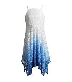 Bloome Girls' 7-16 Lace Dip Dye Dress With Sharkbite Hem