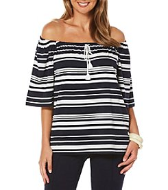 Rafaella® Striped Peasant Top
