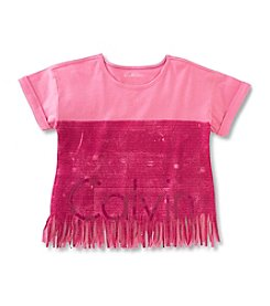 Calvin Klein Girls' 7-16 New Icon Logo Fringe Tee