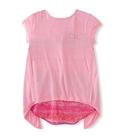 Calvin Klein Girls' 7-16 Tie Back Chiffon Top