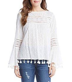 Karen Kane® Embroidered Tassle Blouse