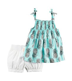 Carter's® Girls' 2T-8 Pineapple Tank With Poplin Shorts Set