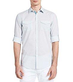 Calvin Klein Long Sleeve Roll Up Voile Button Down Shirt