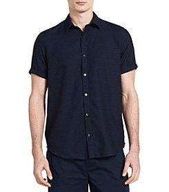 Calvin Klein Men's Short Sleeve Dobby Striped Button Down Shirt