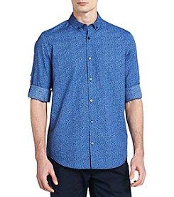 Calvin Klein Roll-Up Voile Floral Button Down Shirt