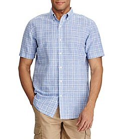 Chaps® Checked Linen-Cotton Swiss Blue Button Down