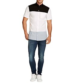 William Rast® Men's Driven Short Sleeve Band Collar Shirt