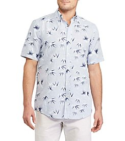 Chaps® Prnt Linen Cotton Button Down Short Sleeve Sport Shirt