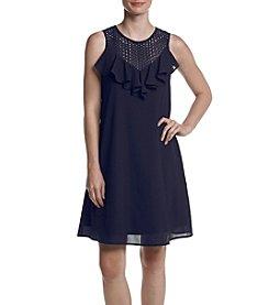 Gabby Skye® Eyelet Yoke Ruffled Front Dress