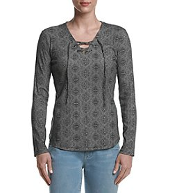 Ruff Hewn Petites' Lace Up Top