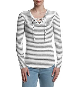 Ruff Hewn Striped Lace Up Top