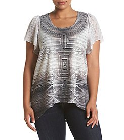 Oneworld® Plus Size Printed Flutter Sleeve Top