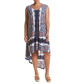 Oneworld® Plus Size High-Low Placed Print Dress