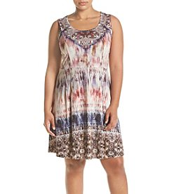 Oneworld® Plus Size Printed Fit and Flare Dress