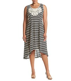 Oneworld® Plus Size Striped Crochet Dress