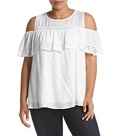 AGB® Plus Size Embroidered Cold Shoulder Top