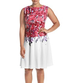 Gabby Skye® Plus Size Printed Fit and Flare Dress