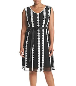 S.L. Fashions Plus Size Lace Striped Dress