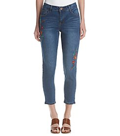 One 5 One® Embroidered Cropped Skinny Jeans